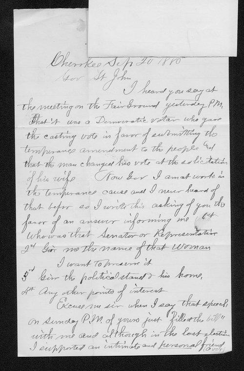James Murray to Governor John St. John - Page
