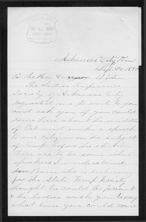 Mrs. R. S. McClenahan to Governor John St. John - Page