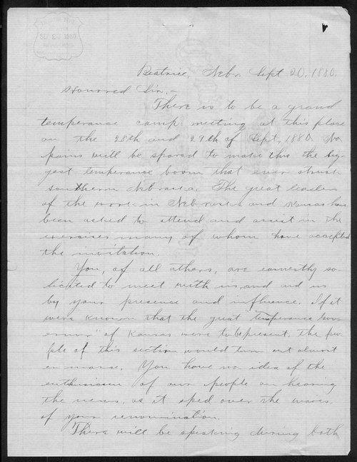 C. A. Whyman to Governor John St. John - Page