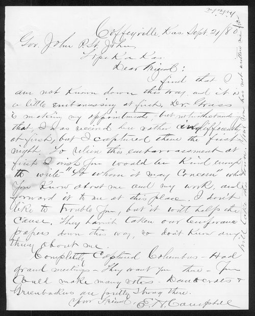 E.H. Campbell to Governor John St. John - Page