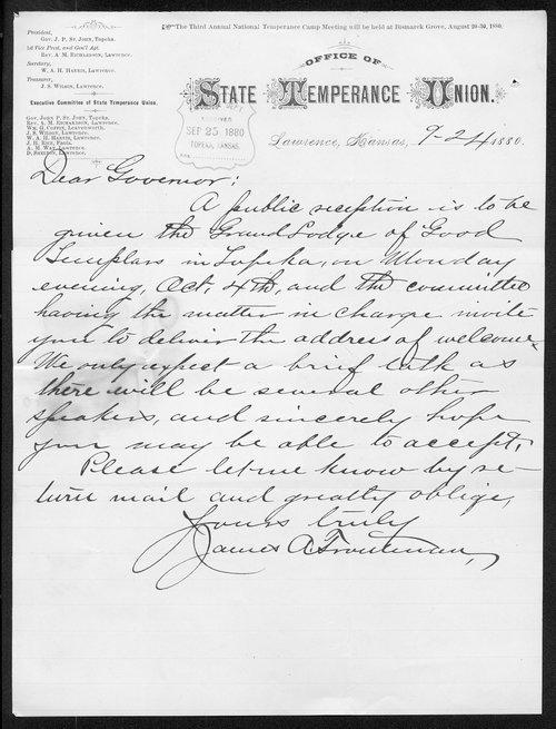 James A. Troutman to Governor John St. John - Page