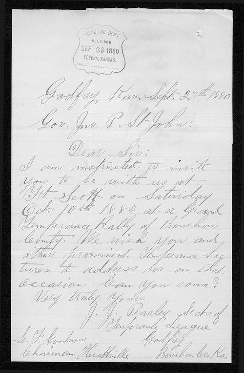 J.J. Peasley to Governor John St. John - Page
