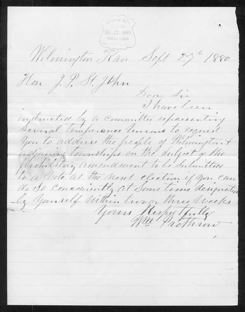 William Prothrow to Governor John St.John - Page