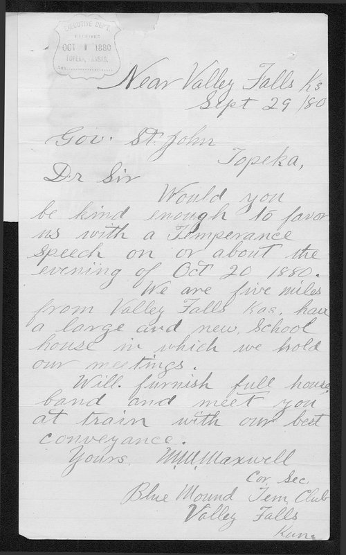 W. M. Maxwell to Governor John St. John - Page