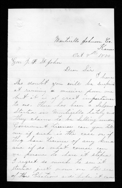 Jennie Piper to Governor John St. John - Page
