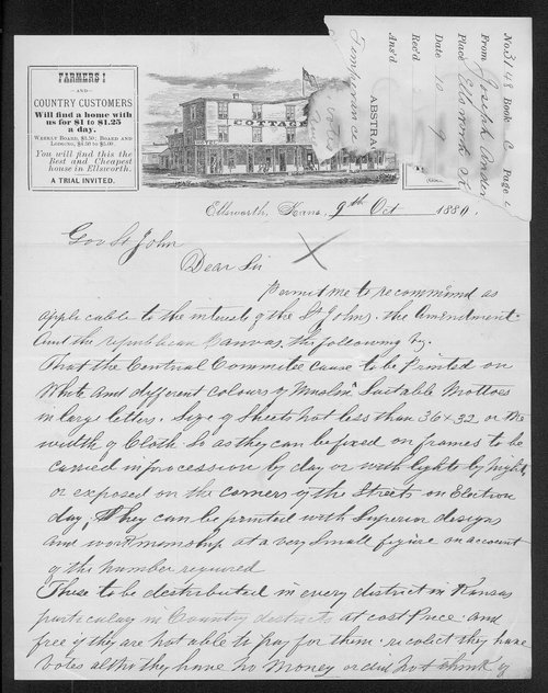 Joseph Anderson to Governor John St. John - Page
