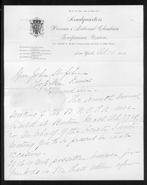 Mary T. Burt to Governor John St. John - Page