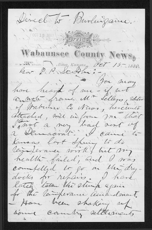 Robert A. Lowry to Governor John St. John - Page