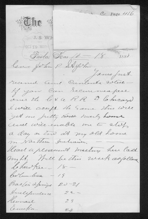 E. B. Reynolds to Governor John St. John - Page
