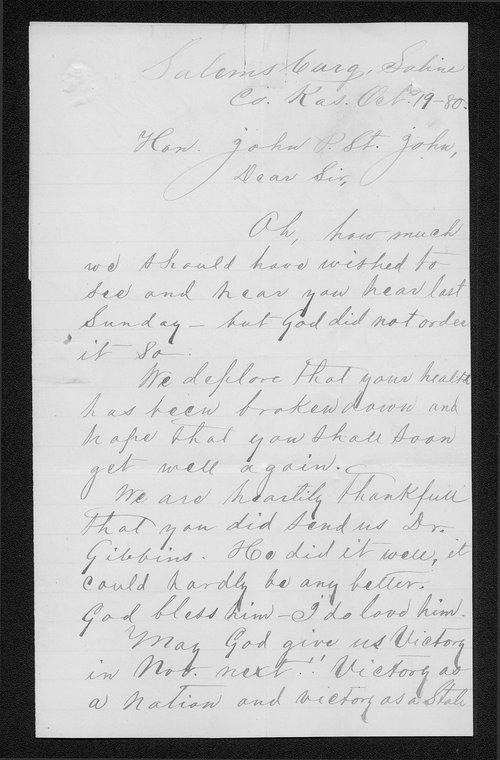 A. H. Dahlston to Governor John St. John - Page