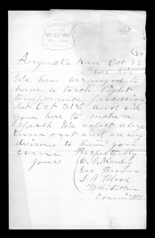 C. G. Manley to Governor John St. John - Page