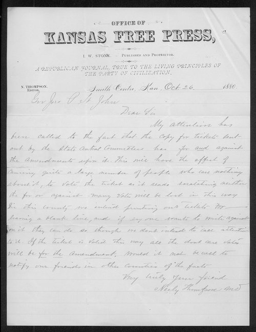 Neely Thompson to Governor John St. John - Page