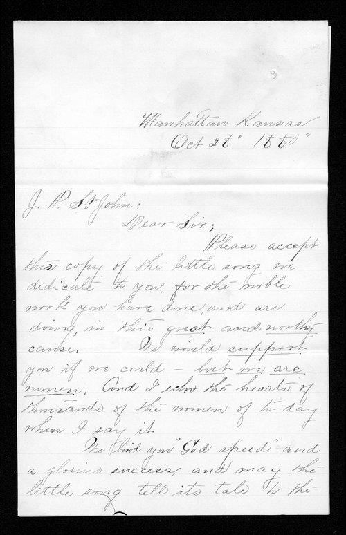 E. E. Viles to Governor John St. John - Page