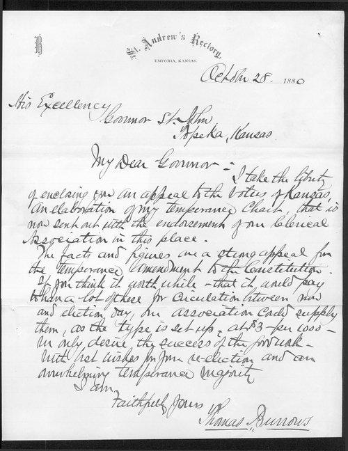 Thomas Burrows to Governor John St. John - Page