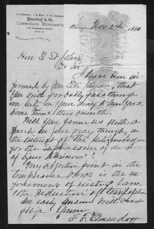 J. J. Elmendorf to Governor John St. John - Page