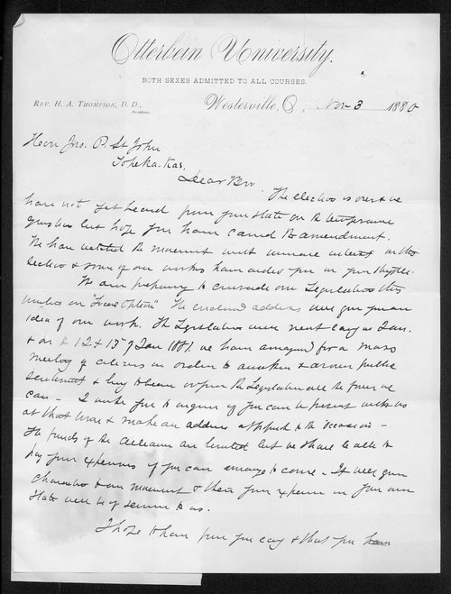 H. A. Thompson to Governor John St. John - Page