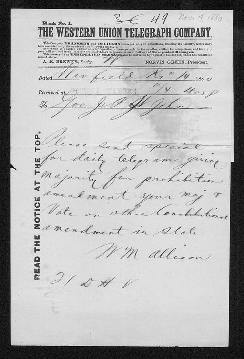 M. M. Alison to Governor John St. John - Page