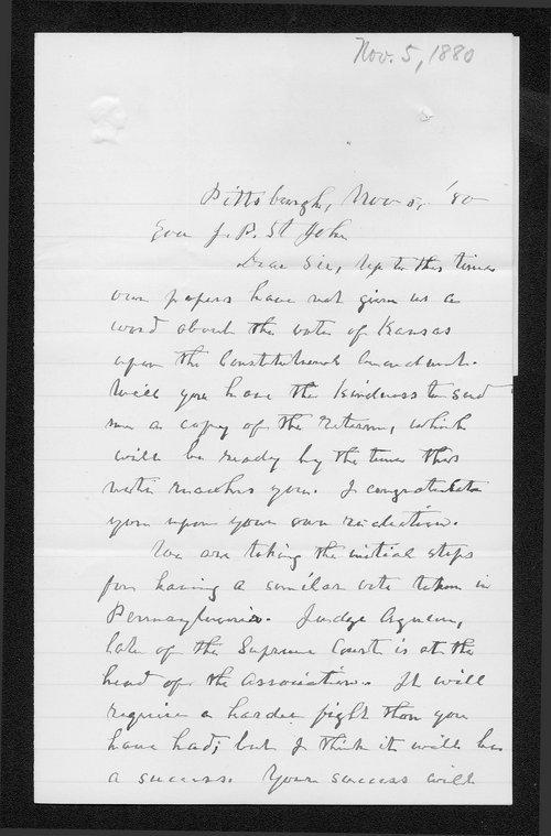 Josiah Coply to Governor John St. John - Page
