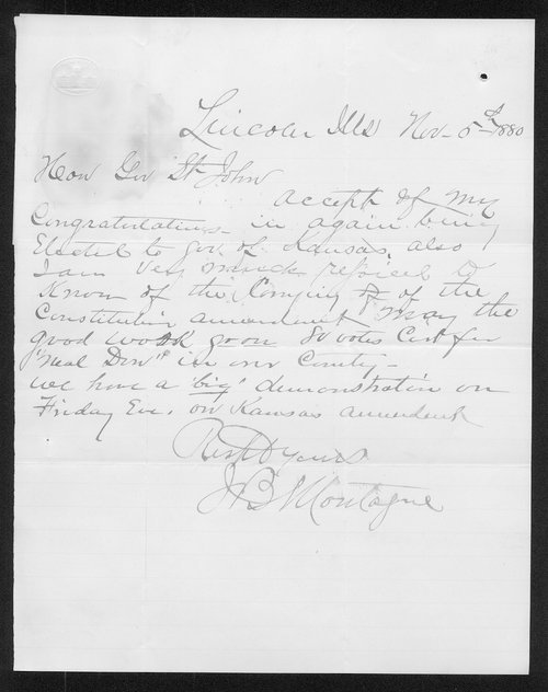 J. B. Montague to Governor John St. John - Page