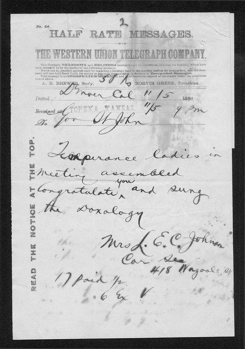 L. E. C. Johnson to Governor John St. John - Page