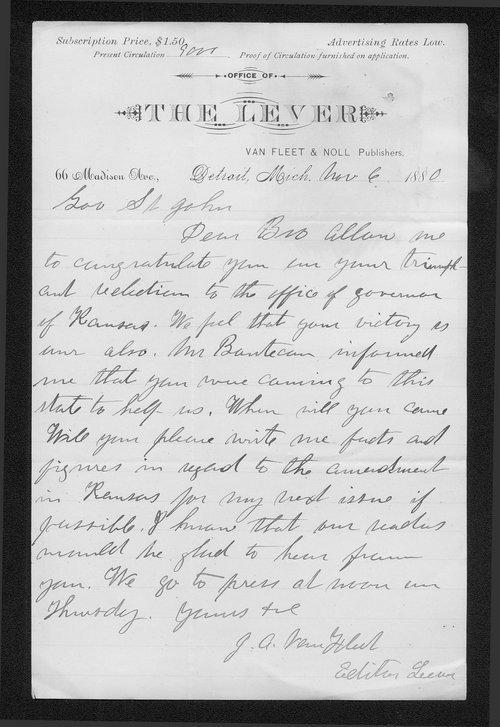 J. A. VanFleet to Governor John St. John - Page