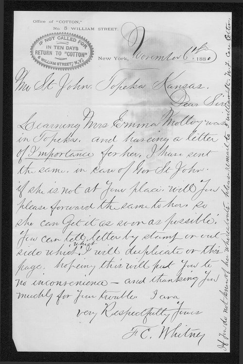 F. C. Whitney to Governor John St. John - Page