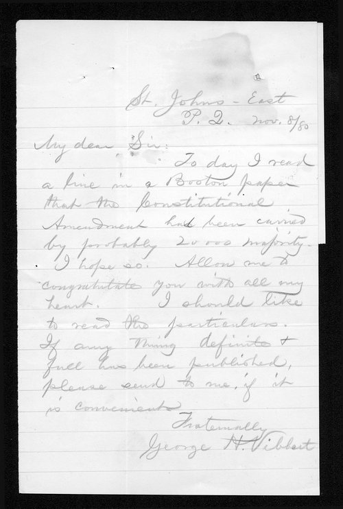 George H. Vibbert to Governor John St. John - Page