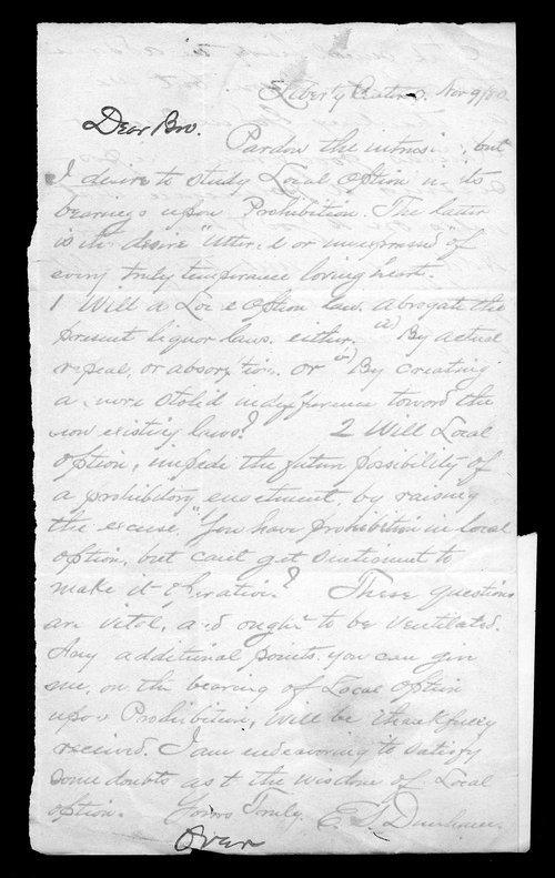 E. S. Dunham to Governor John St. John - Page