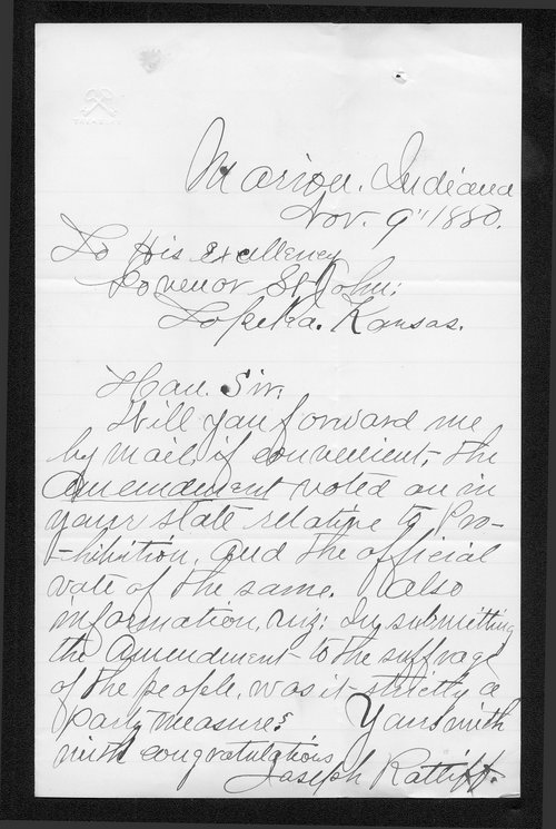 Joseph Ratliff to Governor John St. John - Page