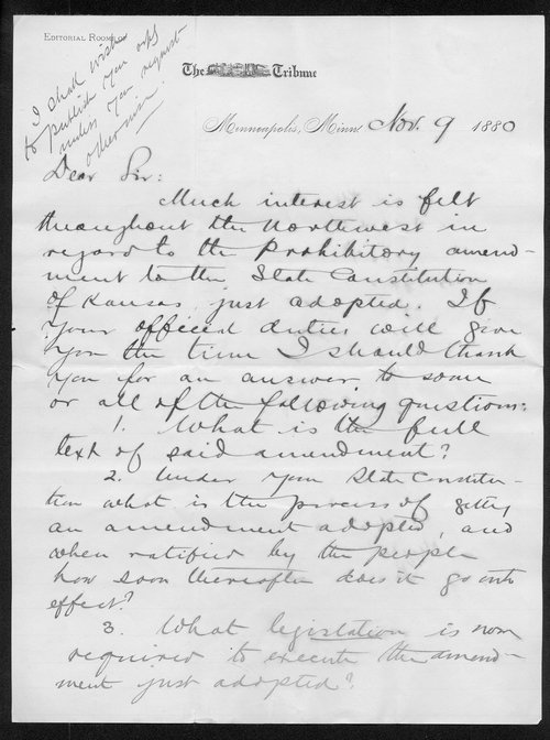 A. B. Nettleton to Governor John St. John - Page