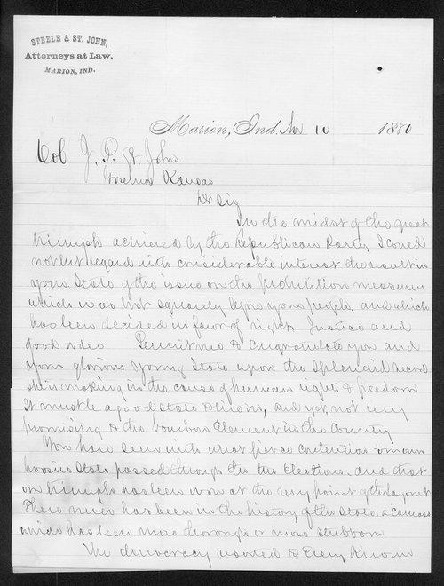 R. T. St. John to Governor John St. John - Page
