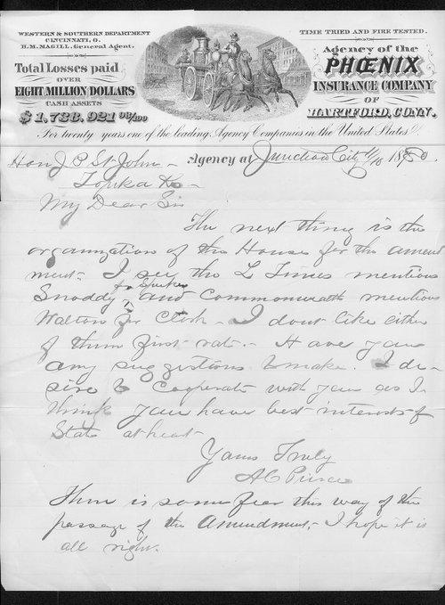 A. C. Pierce to Governor John St. John - Page