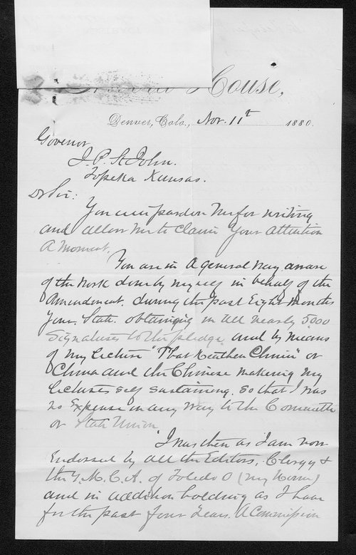 E. N. Gaulding to Governor John St. John - Page