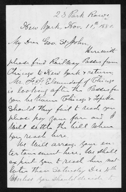 Eli Johnson to Governor John St. John - Page