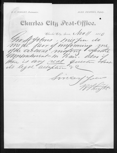 B. F. Wright to Governor John St. John - Page