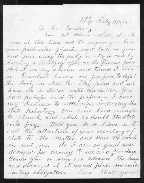 Frank Shelden to Governor John St. John - Page