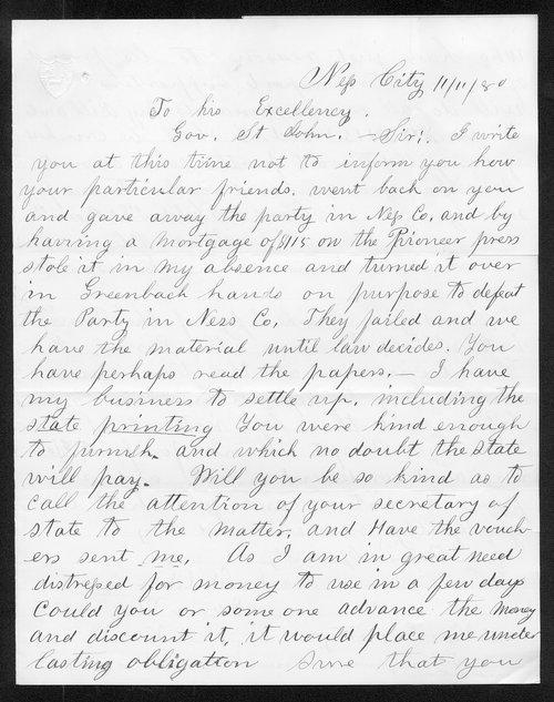 Frank Shelden to Governor John St. John - Page