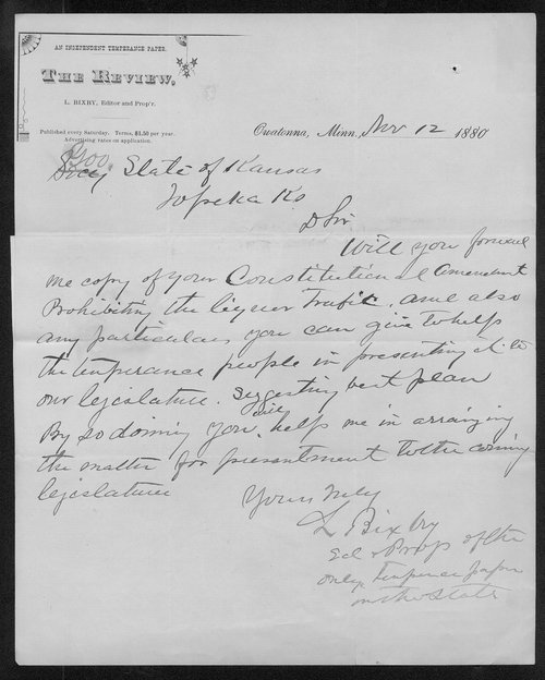 L. Bixby to Governor John St. John - Page