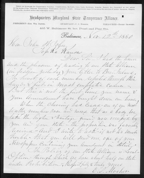 C. S. Mosher to Governor John St. John - Page