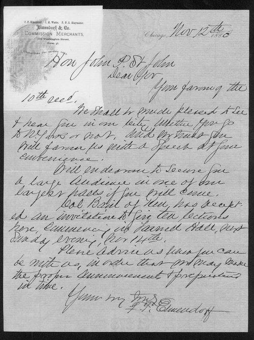F. T. Elmendorf to Governor John St. John - Page