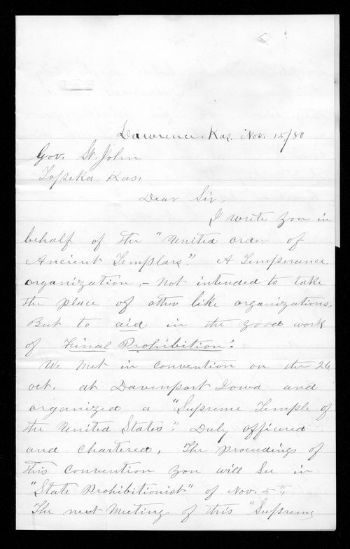 R. Dobbins to Governor John St. John - Page