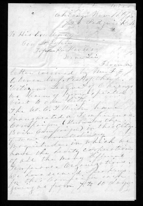Mary McDowell to Governor John St. John - Page