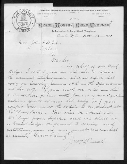 J. B. Finch to Governor John St. John - Page