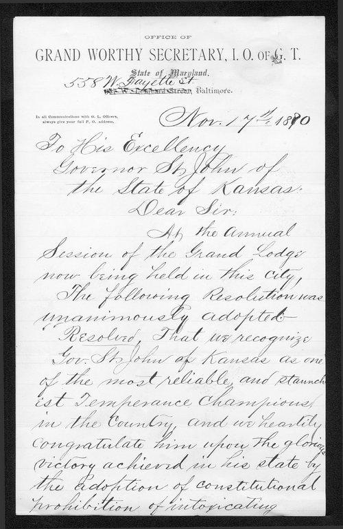 John M. Hering to Governor John St. John - Page