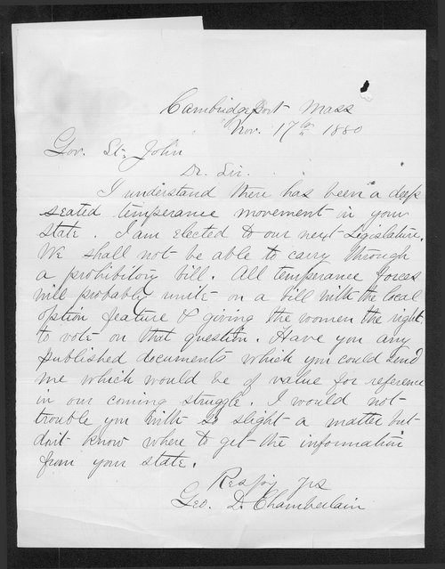 George D. Chamberlain to Governor John St. John - Page