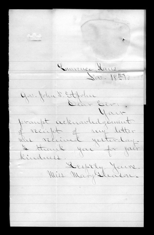 Mary Gleason to Governor John St. John - Page