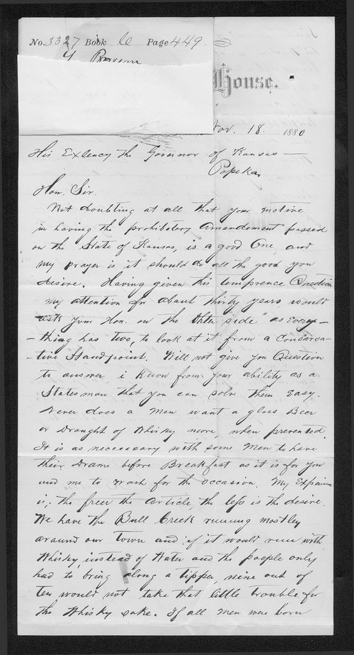 L. Baum to Governor John St. John - Page