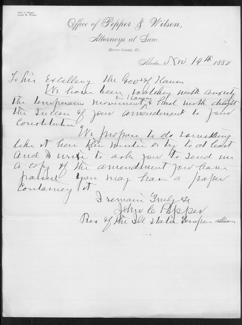 John C. Pepper to Governor John St. John - Page