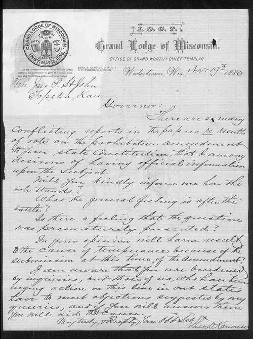 Theodore D. Kanouse to Governor John St. John - Page