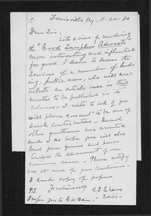 R. S. Chavis to Governor John St. John - Page